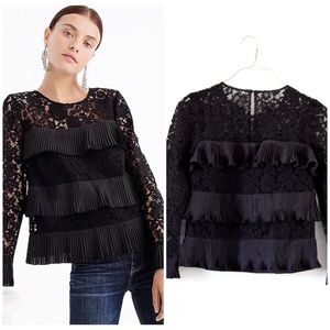 NWT J. CREW SIZE 0 PLEATED LONG SLEEVE LACE TOP🌸